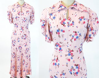 1930s Dress, 30s Floral Rayon Dress, Quilted Collar Vintage 30s Dress S - M