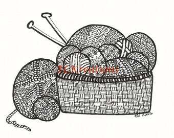 Yarn Basket Zentangle