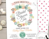 Tea Party Bridal Shower Invitation, Shabby Chic, Succulent, Floral Wreath, Wedding, Printable or Printed Invitations, Free Shipping