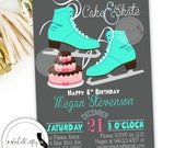 Birthday Party Invitation, Ice Skating, Ice Skates, Party Invitations, Pink Teal Grey, Printable, DIY, Digital or Printed Invitation
