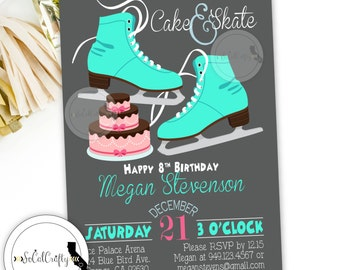 Birthday Party Invitation, Ice Skating, Ice Skates, Party Invitations, Pink Teal Grey, DIY, Printed or Printable Invitations, Free Shipping