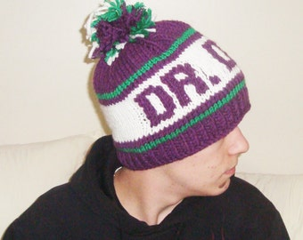 DR DOG Personalized Knit Beanie Hat in Barney Purple Green White Girlfriend Gift idea music gift