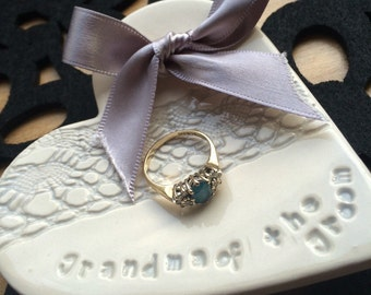 Silver grey grandma of the bride groom ring plate keeper thank you ceramic heart gift