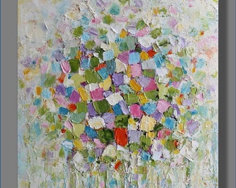 Flowers Painting Abstract Oil Painting  Oil Art Original Abstract Artwork Palette Knife  Modern Art Gifts for Her  Painting by Mirjana