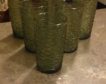 Vintage Anchor Hocking Soreno Green Water Glass Tumbler 6 Piece Set