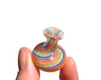 Rainbow Stripes Miniature Vase, Hand Blown Glass