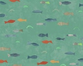 Quilting Fabric Aqua Fish by Carrie Bloomston Story Collection per Half Yard