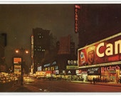 Times Square At Night New York City NYC NY 1964 chrome postcard