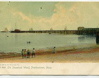 Old Steamboat Wharf Provincetown Cape Cod Massachusetts 1907c postcard