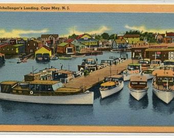 Boat Marina Schellenger's Landing Cape May New Jersey 1950s linen postcard
