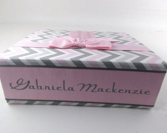 Girl Baby memory book gray and Pink chevron personalized pregnancy journal spine label