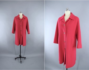 Vintage 1960s Coat / 60s Cashmere Coat / Raspberry Red Wool Trench Coat / 100% Cashmere / Size Medium Large