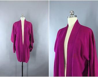 Vintage 1930s Silk Haori Kimono Jacket / 1930s Kimono Cardigan / 20s Silk Kimono Robe / Magenta Purple / Wedding Kimono Lingerie