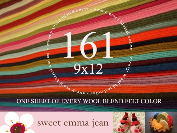 """Wool Felt - 161 9""""x12"""" Sheets - Special Price - One sheet of every color of Wool Blend Felt we stock"""