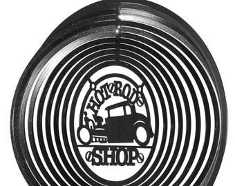 Hotrod Hot Rod Circle Black Swirly Metal Wind Spinner
