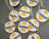 Soccer Ball Bag Tags Soccer Party Favor Soccer Gift Monogram Soccer Bag Tag Soccer Team Bag Tags Tag Orders of 15 or more only BULK ORDER