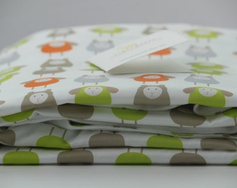 Organic Sheep Baby Blanket - Sheep Toddler Blanket - Crib Blanket - Day Care Blanket - Orange and Green Nursery Bedding - Sheep Baby Bedding