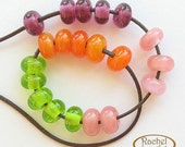 Lampwork Glass Donuts Beads, FREE SHIPPING, Pink, Purple,Green, Orange Glass Spacers Beads - Rachelcartglass
