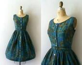 Vintage 1950s Dress - 50s Teal Blue Floral Dress