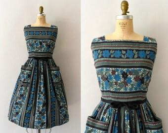 RESERVED LISTING -- 1960s Vintage Dress - 60s Dark Striped Floral Sundress