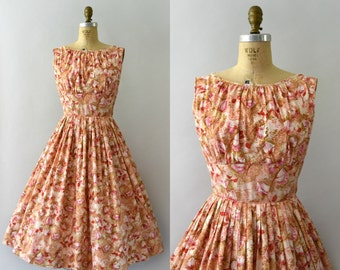1950s Vintage Dress - 50s Floral Cotton Sundress