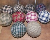 10 Ragballs Rag Balls Primitive Decor Country Rustic Accent Ornie Bowl Fillers Prim Make Do Homespun Plaid Fabric Lot Wrapped wvluckygirl