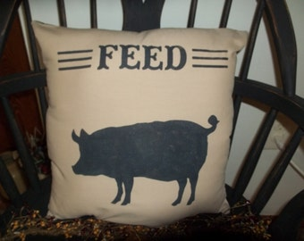 UNSTUFFED Primitive Pillow COVER Pig Feed Sack Feedsack Country Home Decor Case Sham Decorative Decoration Chair Accent Style wvluckygirl