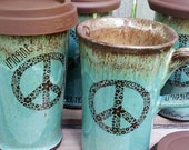 MADE TO ORDER Ceramic Travel Mug with Lid Wheel Thrown Pottery Imagine Peace  Bohemian Dragonfly Henna Tattoo Crop Circles Blue Brown Rustic