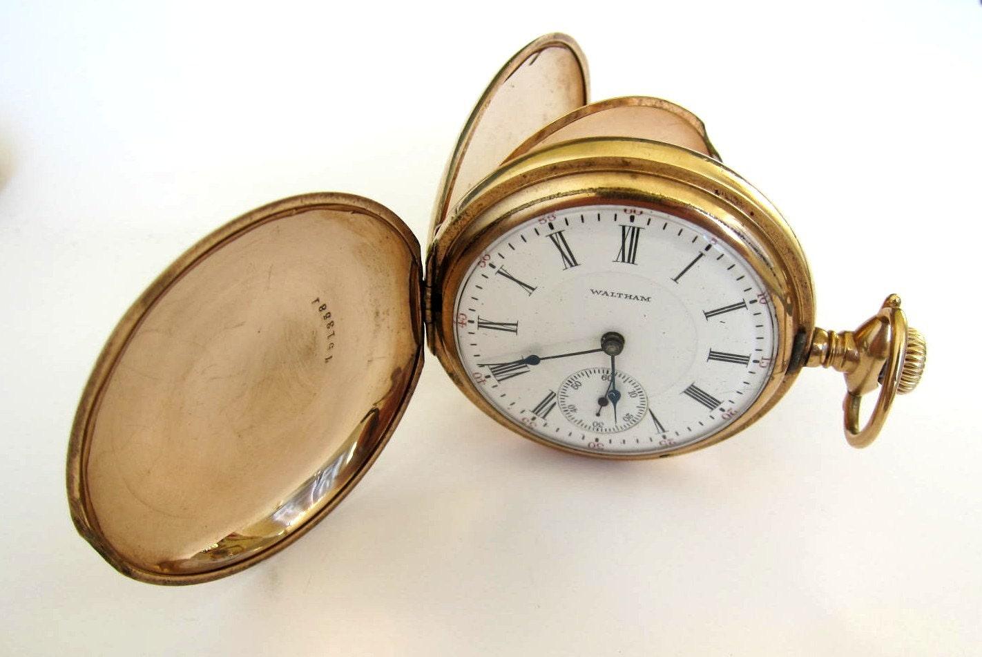 antique 14k goldfilled waltham pocket watchhunter
