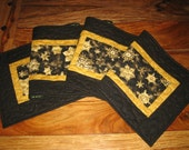 Quilted Christmas Table Runner, Black and Gold Snowflakes, Pine Cone Runner, Holiday Table Decor, Reversible
