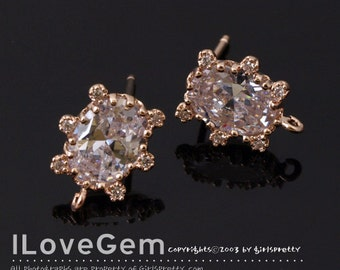 NP-1777 Rose Gold Plated, Oval CZ, Earrings, 925 sterling silver post, 2pcs