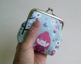 Small Coin Purse in Light Blue with Japanese Dolls and Flowers