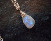 Genuine Rainbow Smooth Simple Moonstone Necklace - Bright Silver Asymmetrical