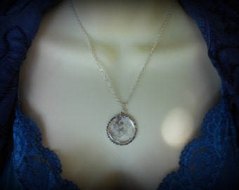 Moon Pendant Necklace Pendant on Silver Chain - Moonlight Becomes You GLOW-in-the-DARK