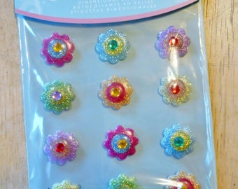 Vibrant Flowers Cabochons Dimensional Stickers by Jolee's Boutique