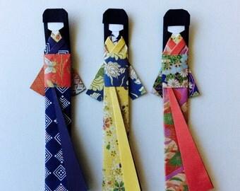 Kimono Girl Origami bookmarks (set of 3)
