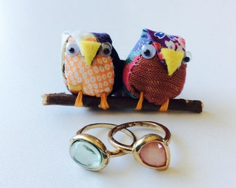 Owl Brooch/ Happy Owls/ Happily Ever After