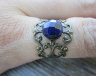 Sodalite Blue Gemstone Boho Ring Adjustable Brass