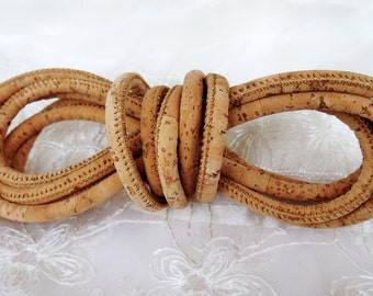 "Cork Cord, Round Cork Cord, Natural, Vegan Cork Cord 4,5mm - 40cm/15,7"" approx. 1 piece"