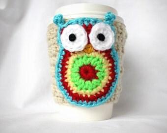 Owl  Slip On Coffee Mug Cup Travel Mug Crochet Cozy Cream