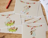 A set of 6 postcards collection or girl's art print