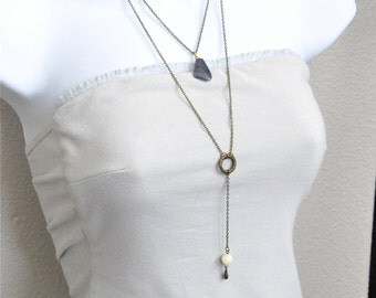 Long Layered Necklace, Dark Grey Stone Pendant Necklace, Y Chain Necklace, Double Strand Necklace, Antique Brass Chain, Mother of Pearl