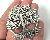 2 pieces - Large size Antiqued silver tone Tree of life pendant supplies 50 mm x 46 mm - CM131