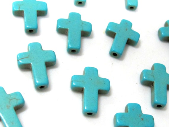8 beads - Blue turquoise color howlite cross beads - BD004A