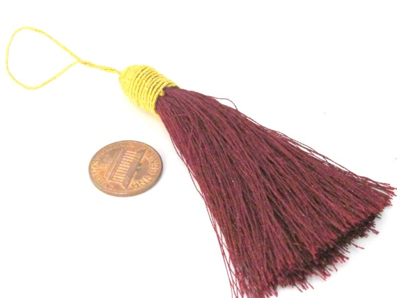1 Piece  - Long dark wine color silky tassel charm with golden cord twine - tassle fringe craft supply - TS008