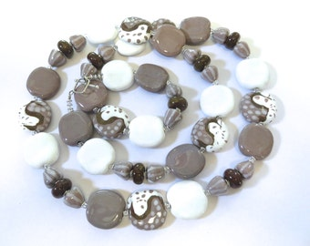 Kazuri Bead Necklace,  Chunky Necklace, African Design Beads, Ceramic Necklace