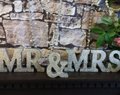 Sparkly Mr And Mrs Wooden Words, Gay Glitter Wedding letters, Mr and Mr / Mrs and Mrs Glitter wooden letters, Mr & Mrs Glitter Wedding Sign