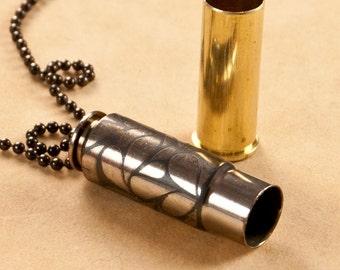 """Time capsule pendant - """"Paisley Petals"""" - etched bullet pendant - bullet necklace - locket"""