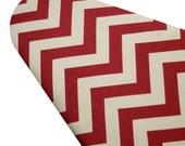Ironing Board Cover with ELASTIC AROUND EDGES made with heavyweight red and vanilla chevron select the size