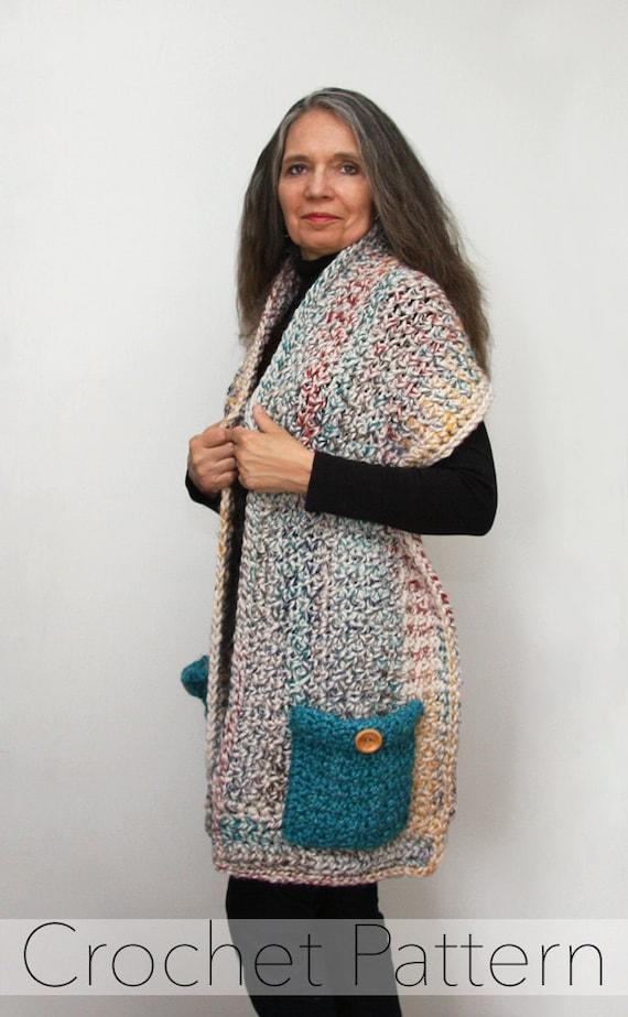 Reader S Wrap Crochet Pattern Pocket Shawl Pdf Made